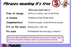 Phrases meaning it's free